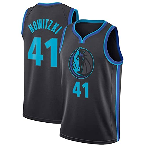 HTTC Lôñé Ràñgér # 41 ñôwîtzkì Basketball-Jersey atmungsaktive ärmellose Sportweste, Unisex-Basketball-Uniformen, lässige komfortable Sportbekleidung (Hot-Press-Version/L