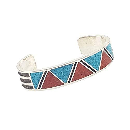 Indianerschmuck Armreif Türkis Koralle Chip Inlay Westernschmuck Navajo Style