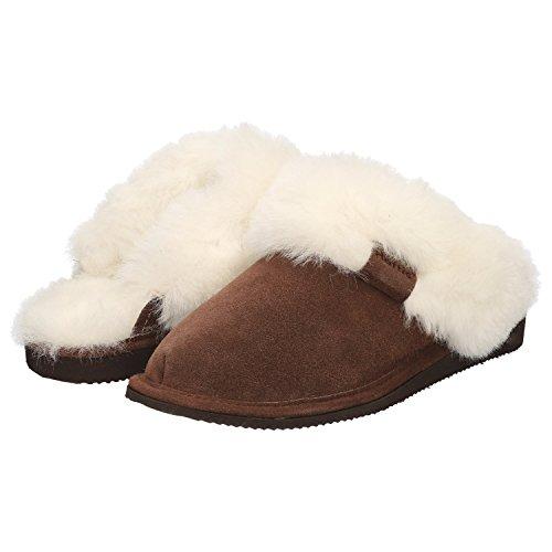 Haftic Damen Hausschuhe Leder Lammfell Warm Winter Gefüttert Geschlossen Atmungsaktiv Weiche Sohle Handgemacht Schafswolle Schlappen Pantoffeln Schuhe (39, Braun/Weiß)