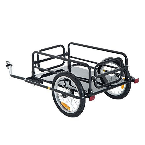 Aosom Foldable Bike Cargo Trailer Bicycle Cart Wagon Trailer w/Hitch, 16'' Wheels, 110 lbs Max Load - Black