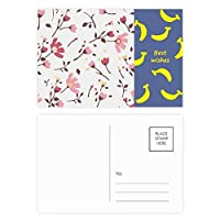 calliopsisピンクの花の植物の葉 バナナのポストカードセットサンクスカード郵送側20個