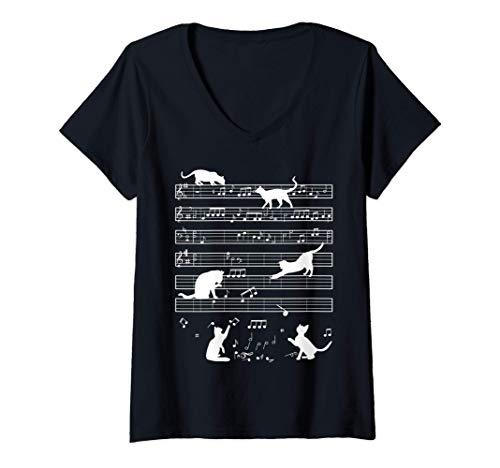 Mujer Gato lindo gatito tocando música Nota Músico clave Pianista Camiseta Cuello V