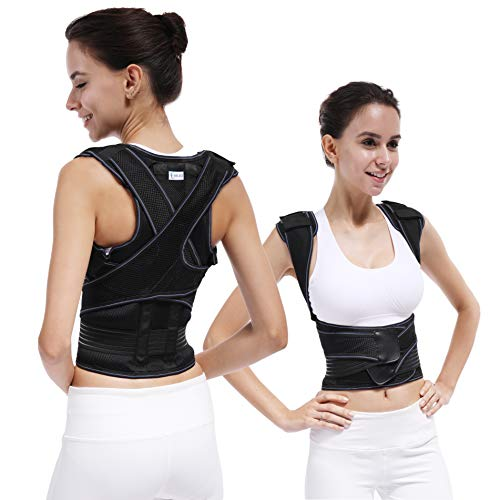 TANDCF Back Brace Posture Corrector for Teenagers and Adults,Best Fully Adjustable Support Brace for Women & Men,Improves Posture and Provides Lumbar Support for Lower and Upper Back Pain(S)