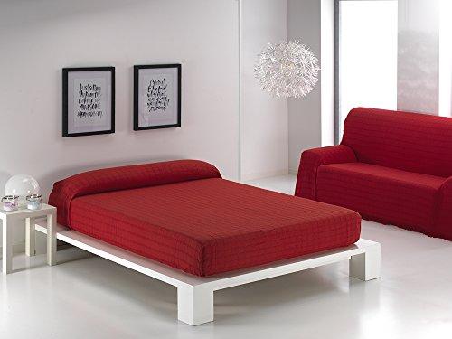 Texturas Basics - Colcha Multiusos Lisa Cama Y SOFÁ Económica (180_x_260_cm, Rojo)
