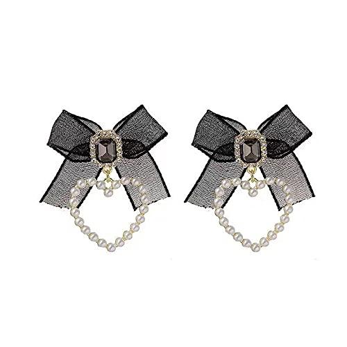 Love Streamer Pendientes Mujer925Pendientes De Perlas De Aguja De Plata Pendientes De Hadas Retro Premium Joyería