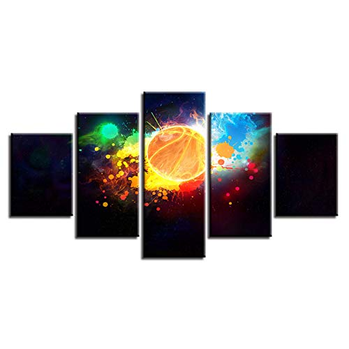 WHFDH Leinwandbild Wandkunst Dekoration 5 Stücke Farbe Basketball Malerei Hd Print Aquarell Abstrakte Poster