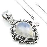 Kette mit Mondstein Halskette Kettenanhänger 925 Silber weiß blau (108-04 03), Kettenlänge:40 cm