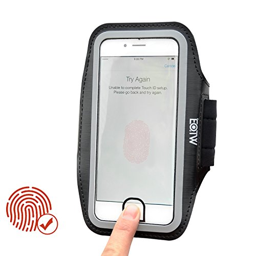 EOTW Brazalete Movil 5.5 Pulgadas Compatible para iPhone 8 Plus/7 Plus/6 Plus/ 6sPlus, Brazalete Ajustable Corriendo con Toque ID Negro