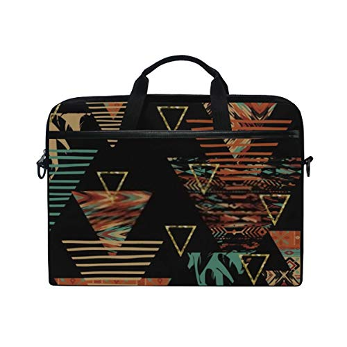 Laptop Bag Tribal Ethnic Seamless Pattern Geometric Elements 15-15.4 Inch Laptop Case Sleeve, Briefcase Messenger Shoulder Bag for Men Women, College Students Business People Office Workers