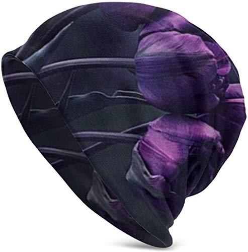 Gorro de Flores de Tulipán Púrpura Oscuro para Hombres Mujeres Gorra Fina de Calavera de Verano Sombrero de Punto de Gran Tamaño Holgado Navidad