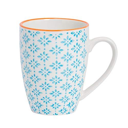 Taza de desayuno - Estampado azul/naranja - 360ml