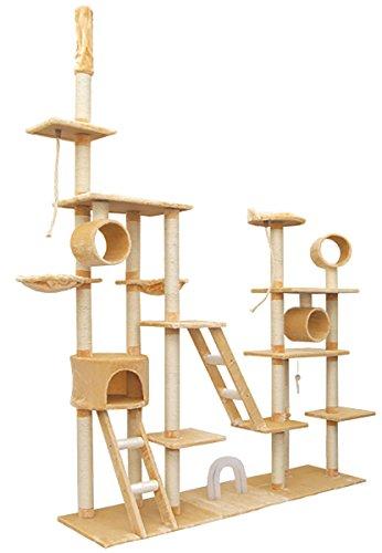 EYEPOWER Riesengroßer Deckenhoher Katzenbaum Luise in Beige ca. 220cm breit Katzen-Spielparadies Katzenhöhle Katzenkratz