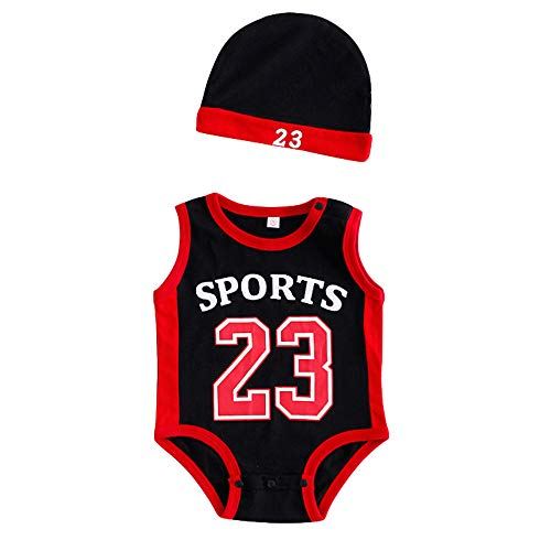 Aialts Baby 23 basketbal jumpsuit, voering, 5 kleuren, sportkleding, crawl, kinderen, voor peuters, kostuum, hoed en 1 paar kousen