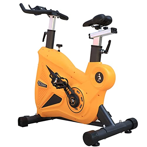 Spinning Bike Indoor Exercise Bike, Home Gym Spin Bike-with Mobile Phone Holder and Bottle Holder, Stationary Bicycle with Silent Belt Drive System (Color : Yellow)