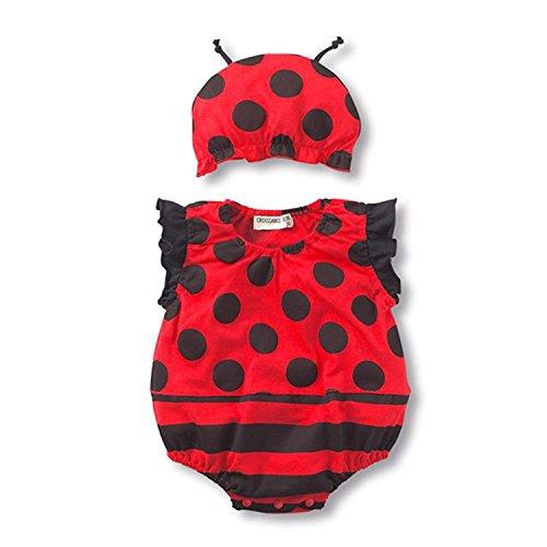 Bambino fotografia puntelli, Boy Girl photo Shoot Outfits neonato crochet costume bambino coccinella senza maniche vestiti cappello complessiva set ( 90)