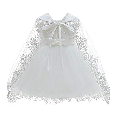 Silver Mermaid Baby Girls Christening Baptism Dress Satin and Tulle Baby Girl Dress for Flower Girl & Birthday(3M,White)