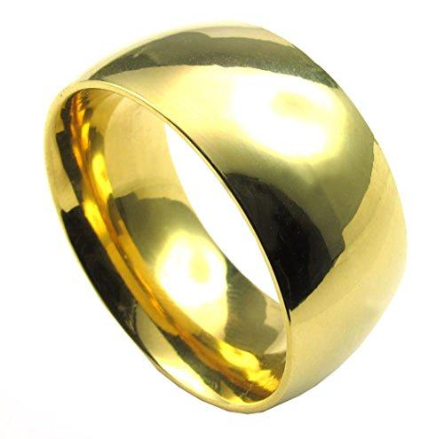 PW チタンとステンレス ゴールド 黄金色 10mm 太め シンプルなデザイン 指輪 【ラッピング対応】