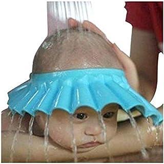 شامبو آمن للاستحمام مع قبعة ناعمة لحماية الأطفال والرضع والأطفال للحفاظ على الماء من العيون والوجه (أزرق)