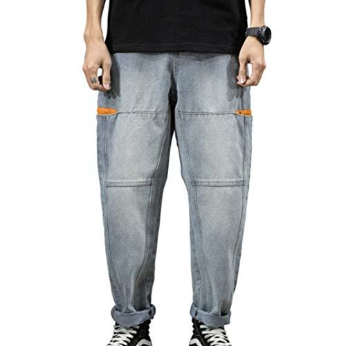 Feidaeu Pantalón Corto Lesiure para Hombre Jeans Holgados Cómodo Transpirable Resistente al Desgaste Monos Lavados Empalme Harem Pant