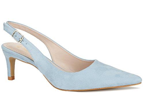 MaxMuxun Pumps Süß Sandalen Absätze für Damen Braut Rock Pumps Blassblau Größe 40 EU