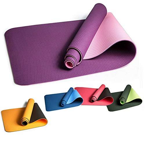 Esterilla de yoga de 183 x 61 x 0,6 cm, esterilla de yoga, esterilla de entrenamiento, gimnasio, fitness, pilates, esterillas antideslizantes de TPE (tamaño: 83 x 61 x 0,6 cm; color: azul)