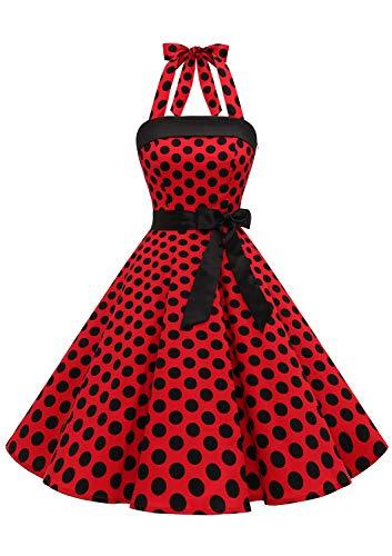 Timormode – Vestido de cóctel sexy, retro, vintage, para mujer, diseño de los años 40, 50 y 60, estilo Rockabilly, con escote B- Rouge Noir B XXXL