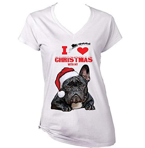teesquare1st I Love Christmas with My French Bulldog Black Santa Camiseta para...