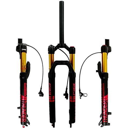KQBAM Horquilla De Bicicleta MTB 27'29' Suspensión Neumática Ajuste De Rebote Dirección Recta 1-1/8'Viaje 100 Mm Freno De Disco Bloqueo Remoto 9 Mm Qr 1845G
