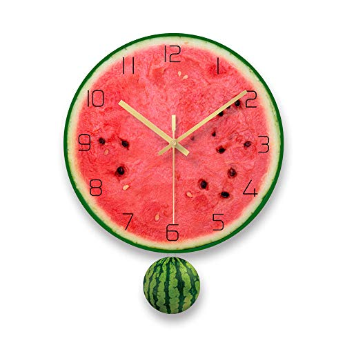 XSZ Modern Design Large Silent Creative Fruit Wall Clock Battery Operated for Kitchen Office Living Room Bedroom Decorative (11.6inch