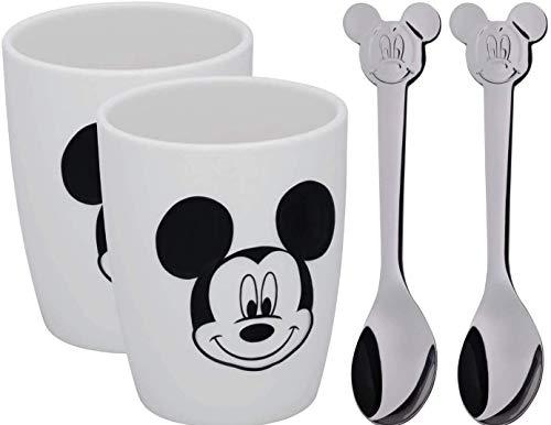 WMF Disney Mickey Mouse Tassen Set M, 2 Tassen mit Löffel, Porzellan, Cromargan Edelstahl poliert, spülmaschinengeeignet