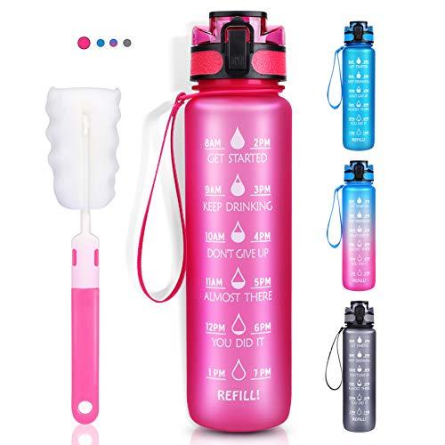 LEHOM Trinkflasche 1L, Wasserflasche Auslaufsicher, Sportflasche BPA-Frei, Tritan Fahrradflasche mit Zeitmarkierung Pink für Camping Freien, Outdoor, Yoga, Gym, Schule, Fahrrad, Uni