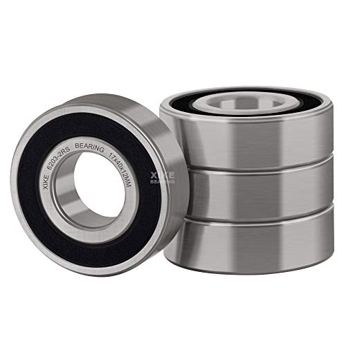 XiKe 4 Pcs 6203-2RS Double Rubber Seal Bearings 17x40x12mm, Pre-Lubricated and Stable Performance and Cost Effective, Deep Groove Ball Bearings.