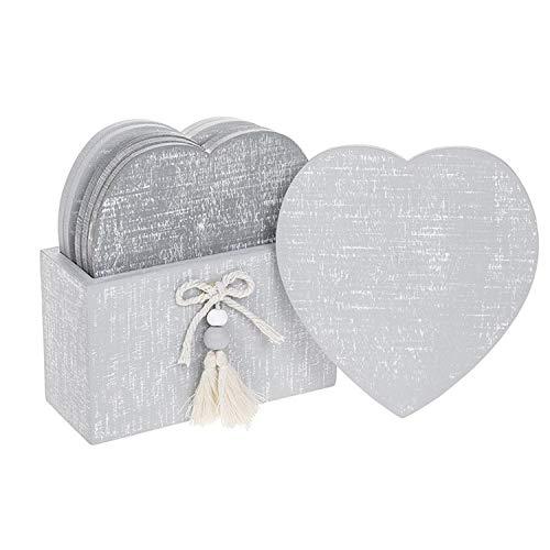 Provence Collection - Set di sottobicchieri a forma di cuore, in stile shabby chic, 15,2 cm