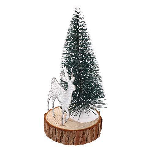 Mini árbol de Navidad con figuras de ciervos Árbol de pino en miniatura con base de madera Estatuas de renos Decoraciones de escritorio Decoración de estantes para chimenea de mesa de vacaciones