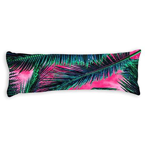 Pink Teal Tropical Summer Palm Tree Fronds Lumbar Ultra Soft Microfiber Long Body Pillow Cover Pillowcases with Hidden Zipper Closure for Kids Adults Pregnant Women, 20' x 54'