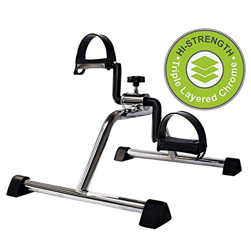 Vaunn Medical Pedal Exerciser Chrome Frame (Fully Assembled Exercise Peddler, no Tools Required), Metallic
