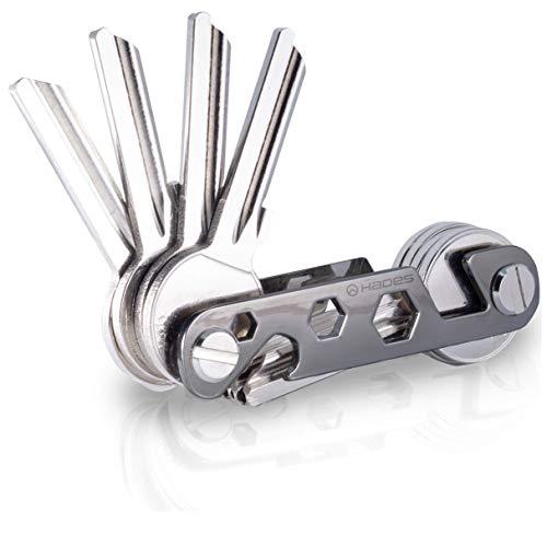 NEU - Hades Key Organizer Premium in edler Geschenkbox- Schlüsselhalter bis zu 16 Schlüssel & Smartphone Halter & Flaschenöffner (schwarz)