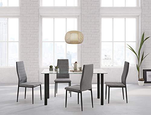 HOGAR24 ES-Conjunto Mesa 140 cm x 80 cm x 75 cm + 4 sillas Color Negro + Tejido Gris
