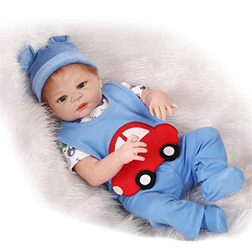 HWZZ Handgemachte Silikon Körper Komplette Babypuppen, Echte Puppen, Die Echte Baby Lebensechte Puppe Mit Weißer Kleidung 57Cm Aussehen,B