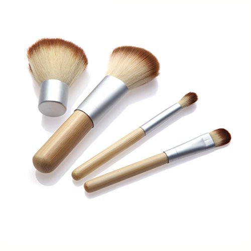 Frcolor 4 Pcs Professionnel Portable Maquillage Brosses Cosmétiques Outils Fondation Brosse Sourcils Brosse Kit