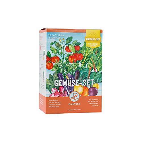 Plantura Gemüse-Anzuchtset, 5 bunte Gemüsesorten, Anzuchtset für die Fensterbank, Geschenkidee