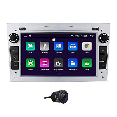 Navegación GPS para Coche Android 10 Compatible con Opel Opel Holden Antara Combo Zafira Tigra TwinTop Soporte Control del Volante Bluetooth Radio FM Enlace Espejo (Plateado)