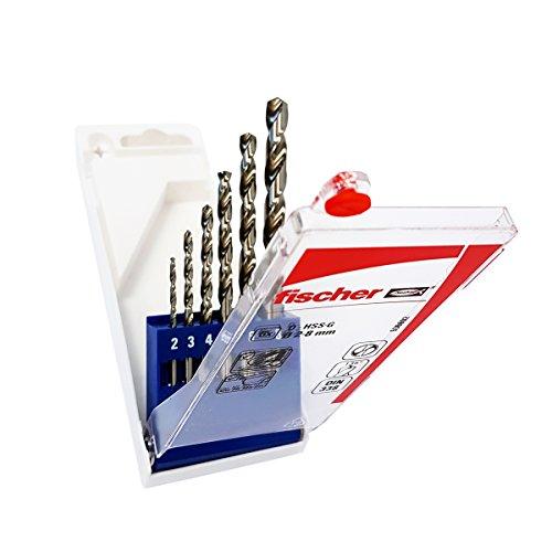 Fischer Set Punte Trapano Professionali per Metallo HSS, Misure 2-3-4-5-6-8 mm, Punta rettificata, 536602