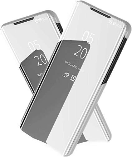 TiHen Spiegel Schutzhülle für Samsung Galaxy On5 2016 Hülle, Smart-Fenstertasche Überzug Spiegel Flip Cover +Panzerglas Schutzfolie 2 Stück,Handyhülle Lederhülle Etui mit Standfunktion -Silber