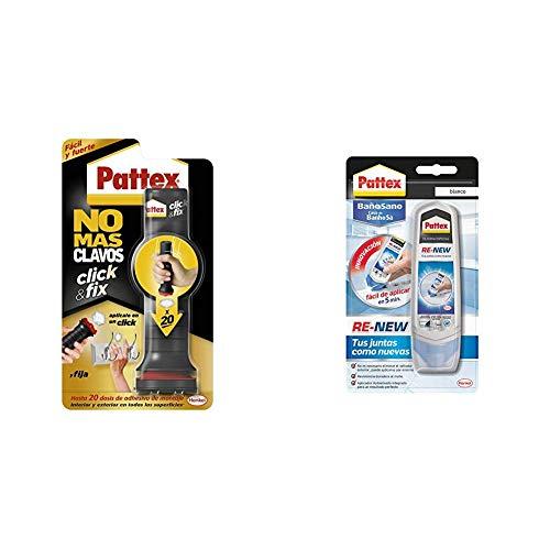 Pattex No Más Clavos Click&Fix, adhesivo de montaje de fácil uso, 1 x 30 g, 20 dosis & Pattex Baño Sano RE-NEW, silicona blanca para cocina y baño, 1x100 ml