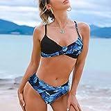 Traje de baño de mujeres Sexy leopardo bikinis traje de baño torcido patchwork traje de baño 2021 mujeres Brasileño Push Up Bikini Set Female Biquini Bathing Traje ( Color : Leaves Blue , Size : M )