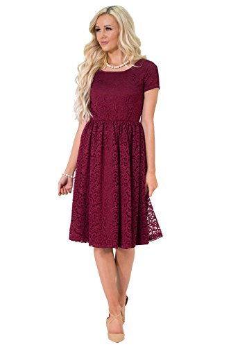 Jenna Modest Lace Dress or Bridesmaid Dress in Bright Burgundy - XL, Modest Semi-Formal or Prom Dress in Cranberry (Apparel)