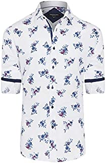 Tarocash Men's Morgan Slim Print Shirt Cotton Slim Fit Long Sleeve Sizes XS-5XL for Going Out Smart Occasionwear
