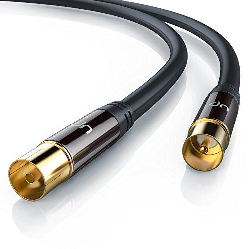 3m cable de antena HQ HDTV Premium factor de blindaje 135 dB - resistencia 75 ohmios - coaxial coax Full HD - clavija coaxial macho en acoplamiento coax clavija IEC macho en conector IEC hembra
