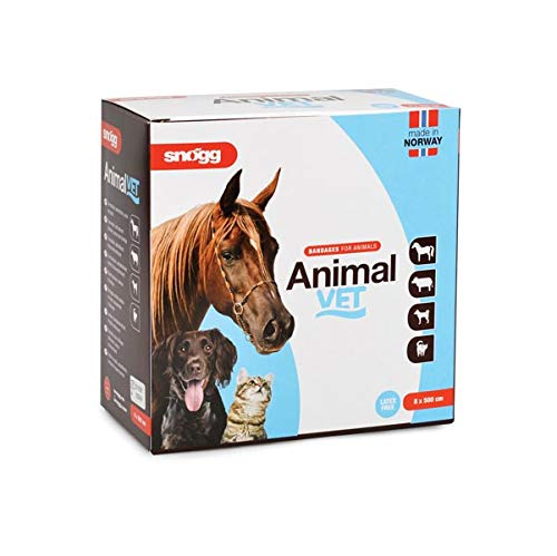 Snögg Animal Vet, blau, Bandage Pferde, selbsthaftender, polsternder, elastischer Tierverband, Pflaster für Tiere (14cm x 5m x 5mm)